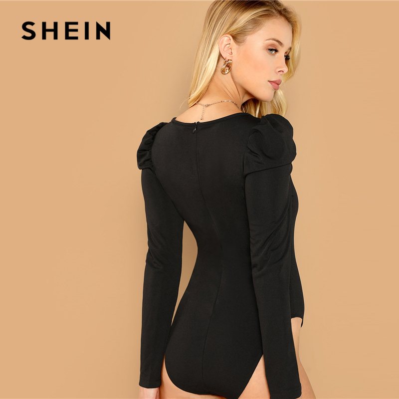 c383886df SHEIN Black Casual Solid Puff Sleeve Square Neck Zip Back Skinny Bodysuit  Autumn Workwear Elegant Women Bodysuits-in Bodysuits from Women's Clothing  on ...