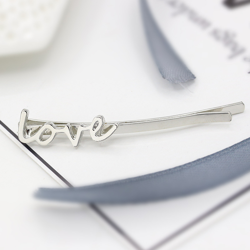 New hair accessories simple love letter hairpin word clip alloy headdress side clip hair accessories hair band wholesale in Hair Jewelry from Jewelry Accessories