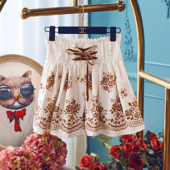 Princess sweet lolita shorts Winter slim short sweet swing umbrella shorts border exposed backing printing funguns UF121
