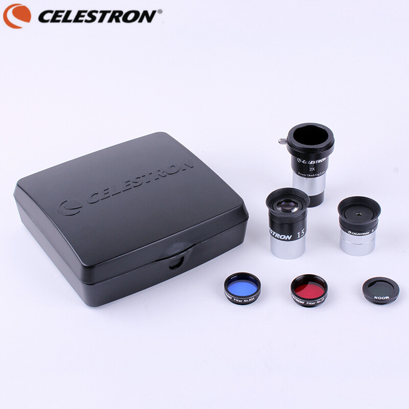 Celestron AstroMaster Telescope Accessory Kit 15 mm Kellner Eyepiece 6 mm PL 2x Barlow 80A 25 Planetary Filter Moon Filter 94307 телескоп celestron astromaster lt 70 az