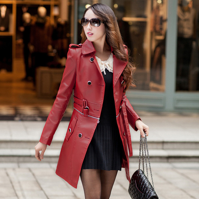 3b039f72d02 Double Breasted Medium-Long Leather Jacket Women 2018 New Autumn Plus Size  4XL Black Red Women s Leather Coat