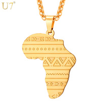 U7 Stainless Steel Gold Rose Gold Color Map Of Africa Pattern Pendant Necklace Men Women Hip