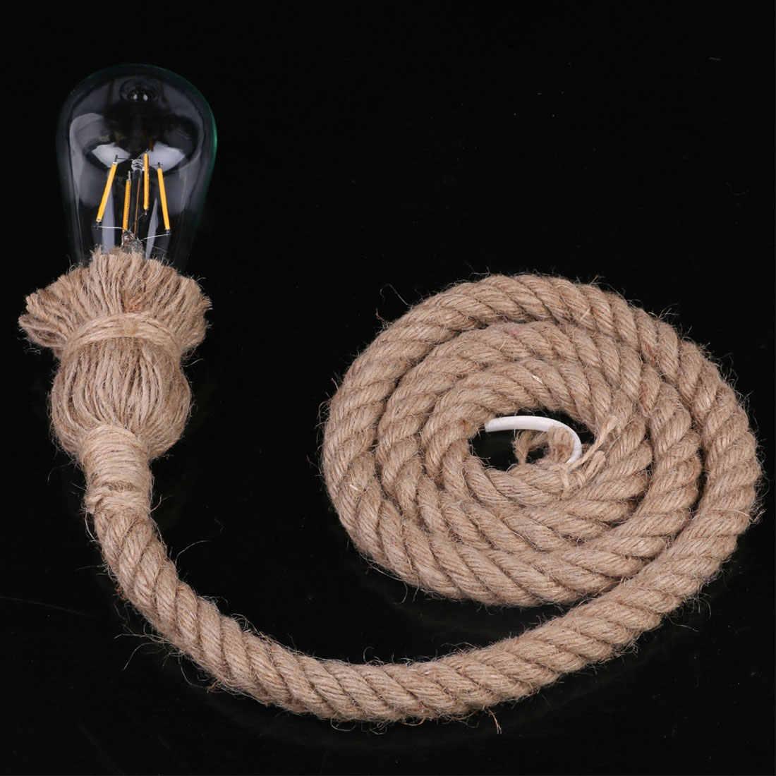 Люстра из пенькового каната Кафе Люстра с одной лампой веревка люстра лампа ретро стиль Ресторан барная веревка лампа