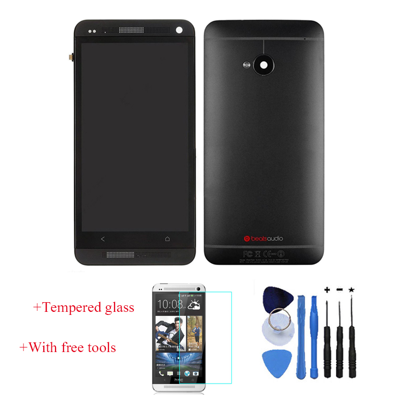 Original 100 Test LCD Touch Screen Digitizer Frame Back Cover Housing For HTC One M7 Black