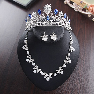Bride Diaries New Design Crystal Pearl Bride 3pcs Set Necklace Earrings Tiara Bridal Wedding Jewelry Set Accessories (21)