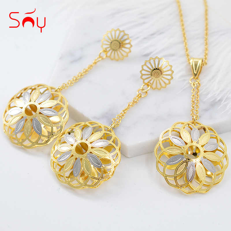 Sunny Jewelry Fashion Jewelry 2019 Long Earrings Pendant Jewelry Sets For Women Big Round Flower Hollow Out For Party Wedding