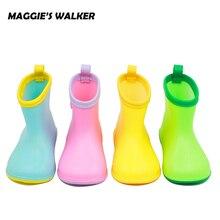 Maggie's Walker Для детей дождь Сапоги и ботинки для девочек для маленьких мальчиков Обувь для девочек водонепроницаемая обувь Резиновые Сапоги и ботинки для девочек Карамельный цвет легкий Дети резиновые сапоги