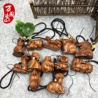 Laos Yellow flower pear wood carving hand pieces zodiac pig and chicken sheep monk small crafts solid wood carving setting piece