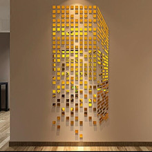 Rubik's cube 3 d acrylic three-dimensional mirror wall stick a sitting room sofa room TV setting wall adornment bedroom
