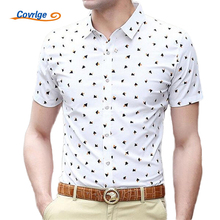 Covrlge Men Shirt 2017 Summer Short Sleeve Slim Male Shirts Fashion Printed Chemise Turn-down Cotton Clothes Dress Shirt MCS032