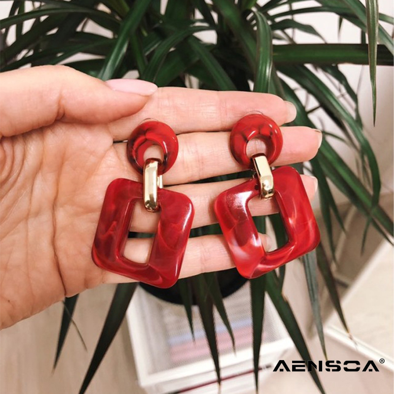 AENSOA New Square Acrylic Drop Earrings For Ladies Trendy Dangle Earrings For Women Statement Jewelry Wholesale Party Gift