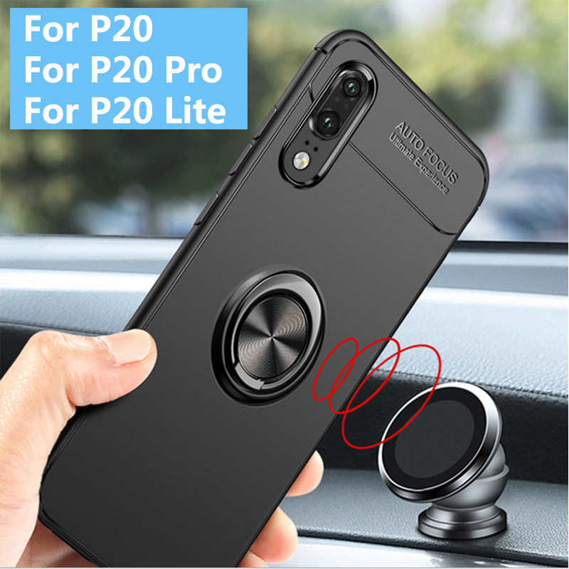 For Huawei P20 Pro P20 Lite P20 Metal Ring 360 Rotation Car Holder TPU Gel Silicone Soft Shockproof Phone Back Case Cover