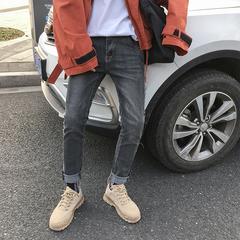 2019 spring nine points   jeans   male trend Korean version of the stretch slim feet pants men's youth pants