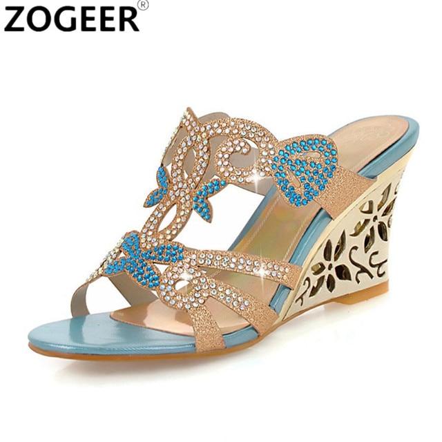 9919cebaf Luxury Rhinestone Wedge Heel Slippers Peep Toe Summer Women Shoes Sexy  Wedges Non-slip Women s High Heel Flip Flop Plus 43