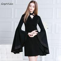 Fashion Oversized Flare Sleeve Vintage Black Cross Halter Neck Chiffon Slim One Piece Dress 9544