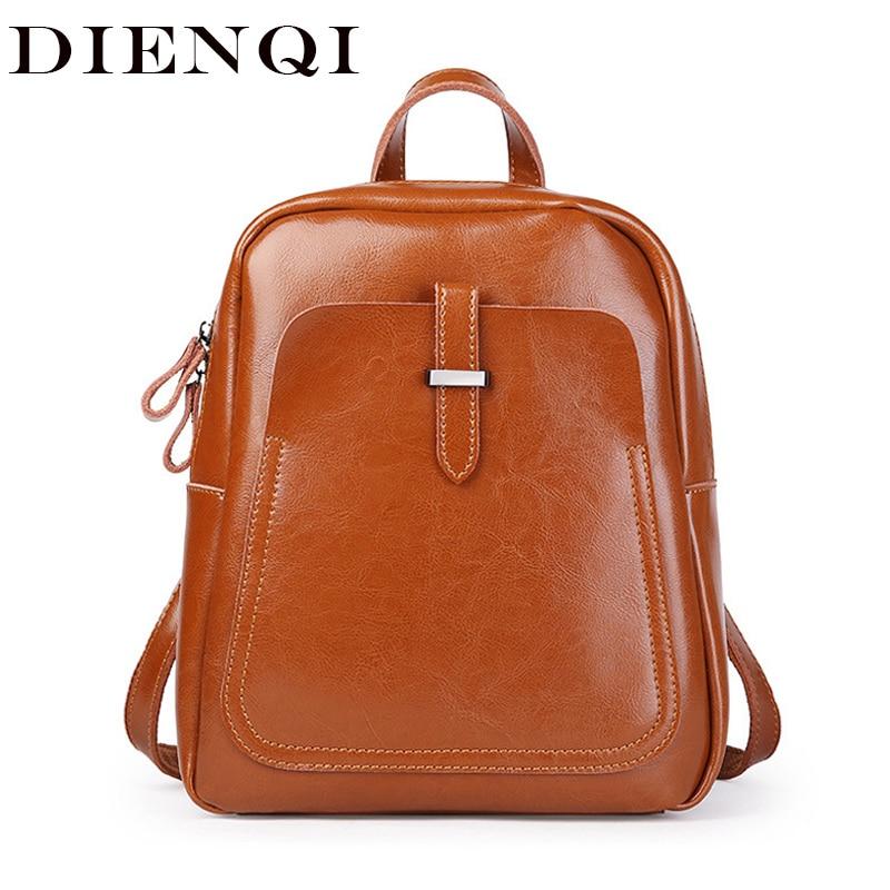 DIENQI sac à dos femme en cuir véritable sacs à dos femme 2018 sac d'école de luxe pour filles sac à dos multifonctionnel en cuir verni