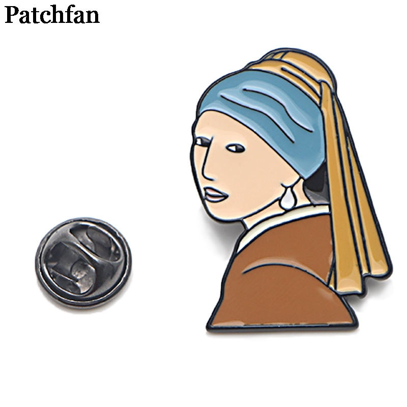 Patchfan Girl with a pearl earring oil painting Zinc pins badges para shirt bag clothes cap backpack shoes brooches A2063
