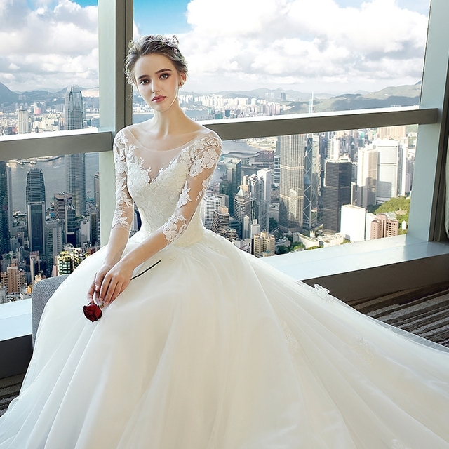 Fansmile Vestido largo De novia con tren, vestidos De encaje De novia, manga, hecho a medida, De talla grande, tul, FSM 540T De boda, 2020