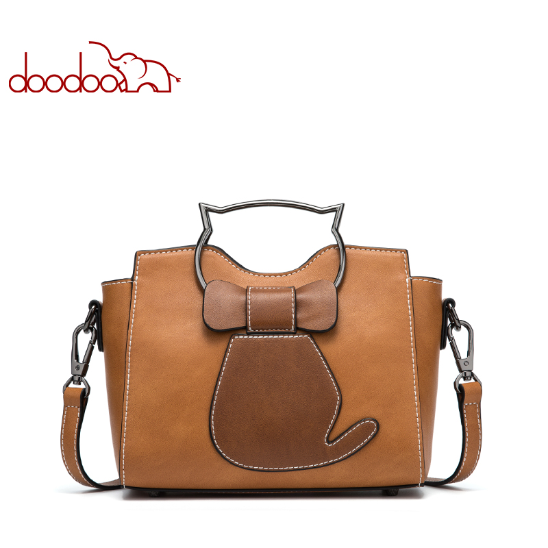 DOODOO Brand Women Handbag Tote Bag Female Shoulder Crossbody Bags Ladies Pu Leather Top-handle Messenger Bags Kitten Appearance 2017 luxury winmax women handbag scrub pu leather shoulder bags female fashion beading top handle tote bags ladies messenger bag