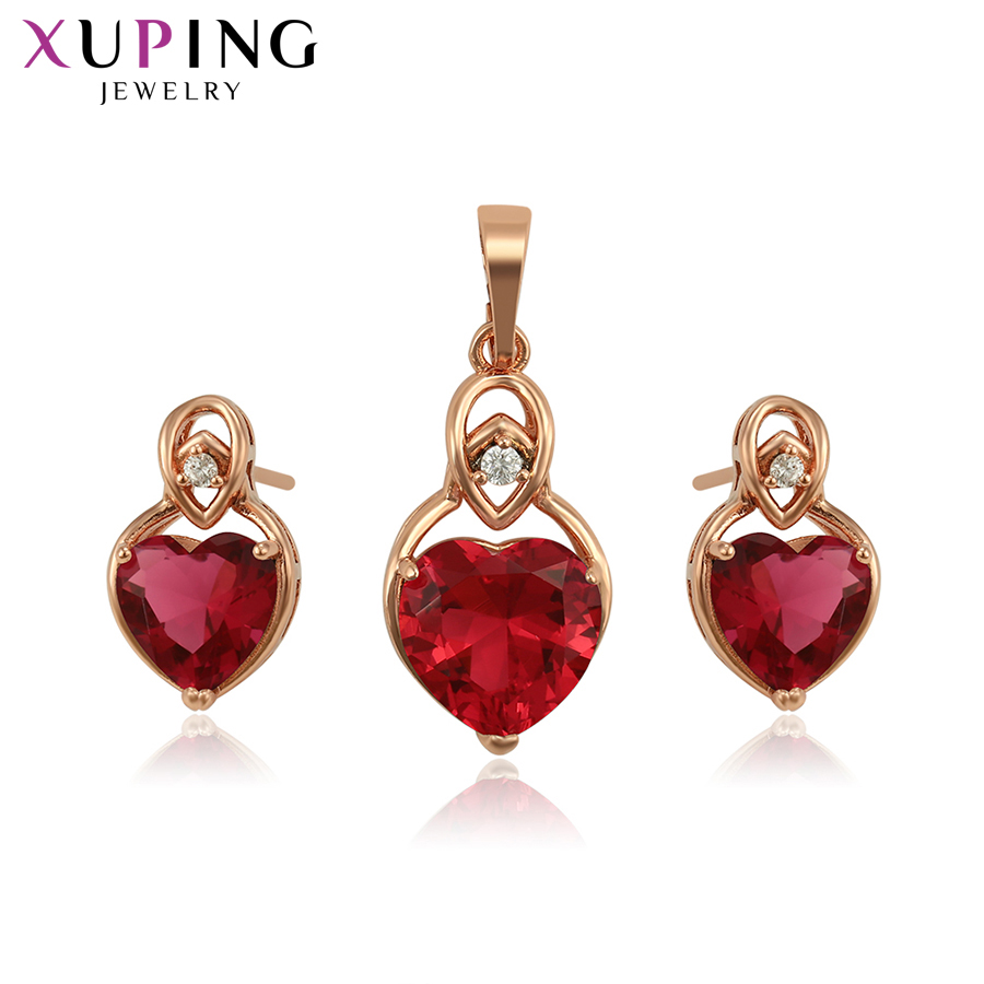 Xuping Fashion Jewelry for Women Sets Rose Gold Color Plated Wedding and Christmas Gifts Beautiful Heart Design 65315