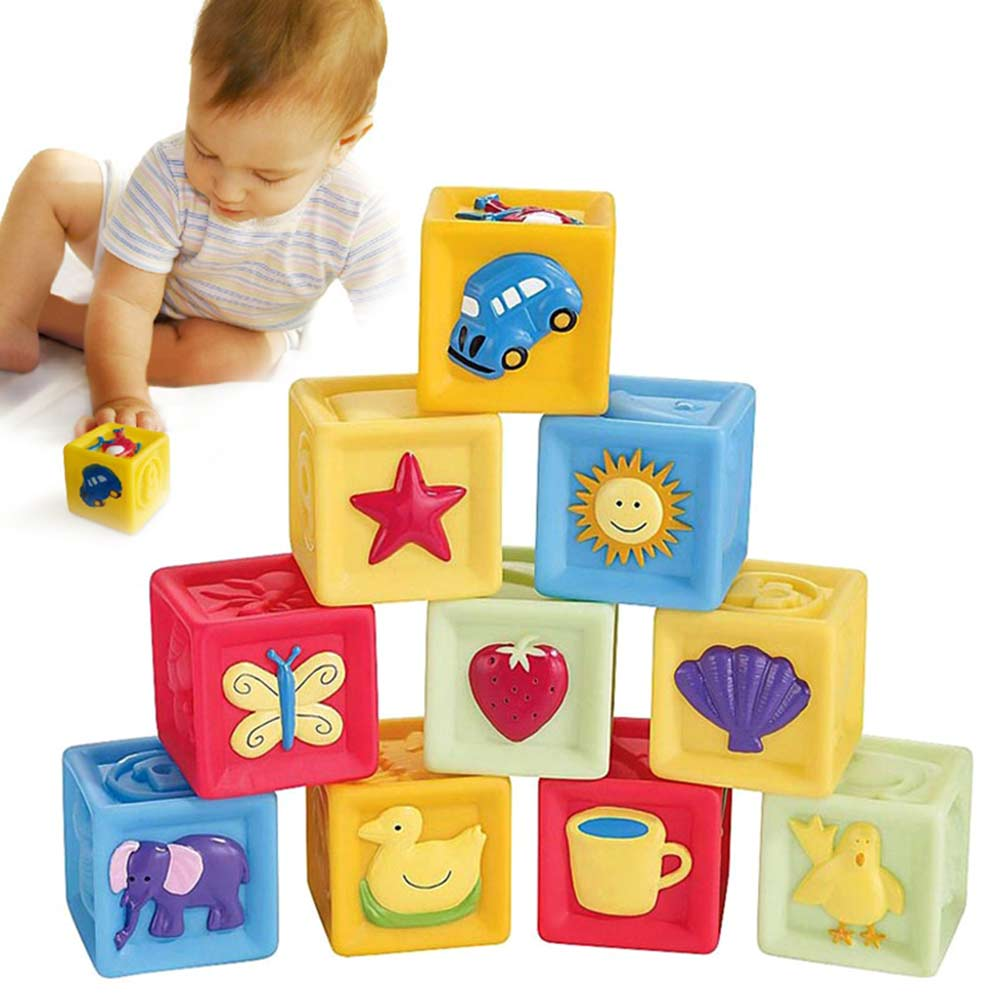 10 Pcs/Set Children Toy Infant Soft Building Blocks Cube Squeeze Stack Block Baby Educational Toys Kids Gifts BM88 81pcs set assemblled gear block montessori educational toy plastic building blocks toy for children fun block board game toy