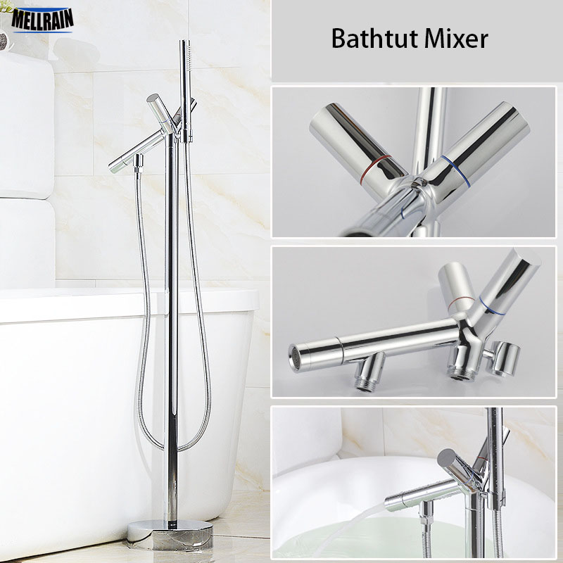 Floor Stand Mounted Bathroom Bathtub Mixer Faucet Brass Chromed Double Handles Bath Shower Tub Hot & Cold Water Mixer Tap polished chrome double cross handles wall mounted bathroom clawfoot bathtub tub faucet mixer tap w hand shower atf902
