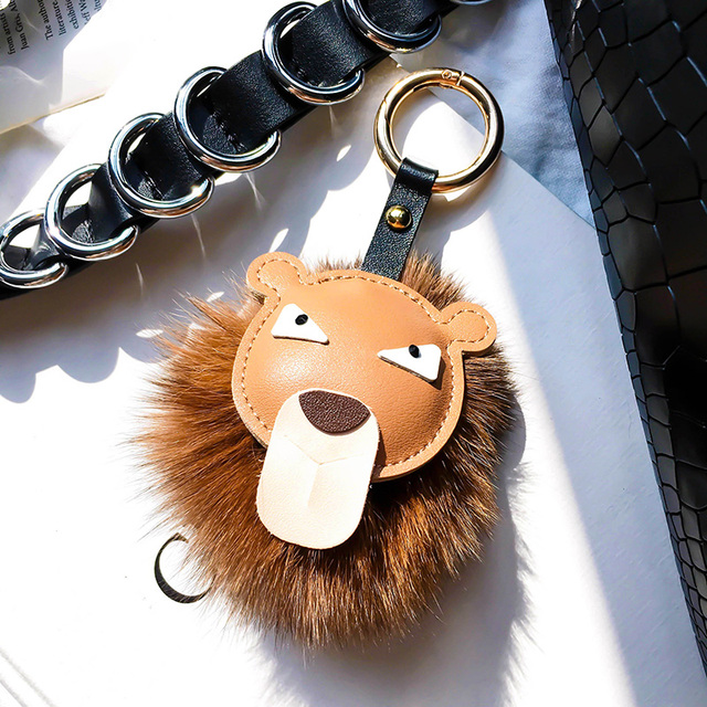 d19f629be4a7 Fluffy Real Fox Fur Pompom Monster Bag Bugs Charm Keychains Plush Pom Pom  Purse Key Ring Girl Holder Leather Lion Face Key Chain