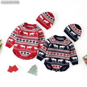Image 1 - Рождественская одежда для малышей, Вязаный комбинезон для маленьких девочек и мальчиков с шапкой, Детский комбинезон хлопок с оленем, комплект одежды для новорожденных