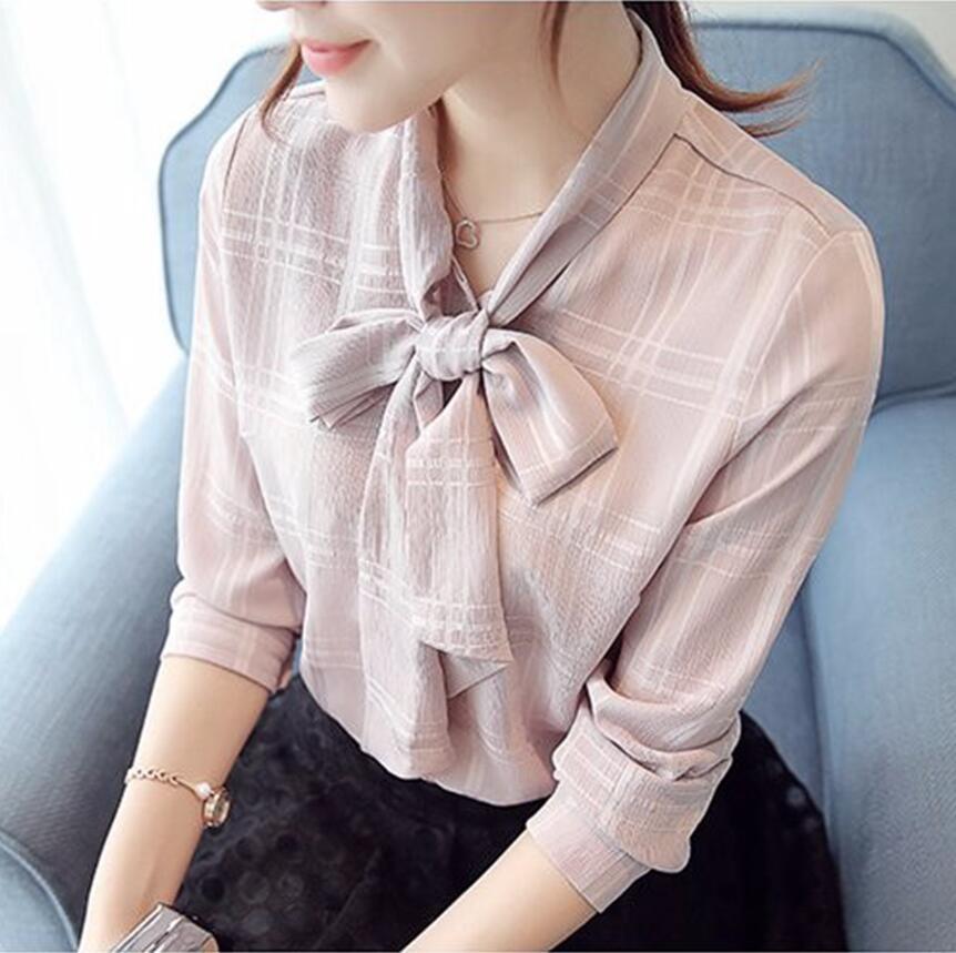 New 2019 Fashion V-neck Bow Long Sleeve Plaid Women Blouses Chiffon blouse Women's Shirts Office Shirt Tops