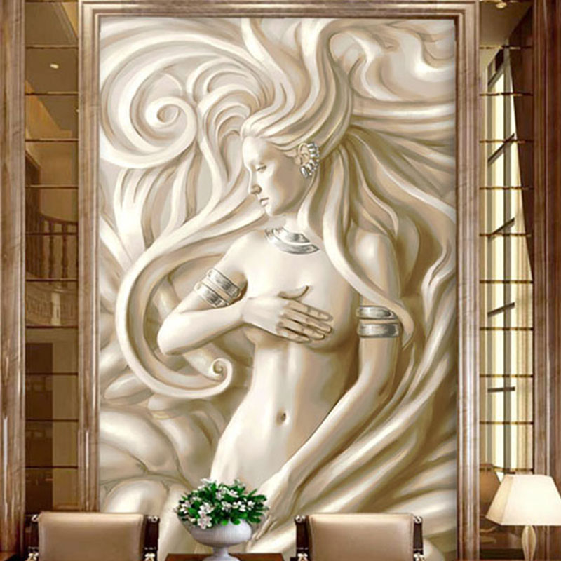 Custom Photo Wallpaper 3D Relief Beauty Sculpture Mural European Style Living Room Hotel Hall Entrance Backdrop 3D Wall Painting