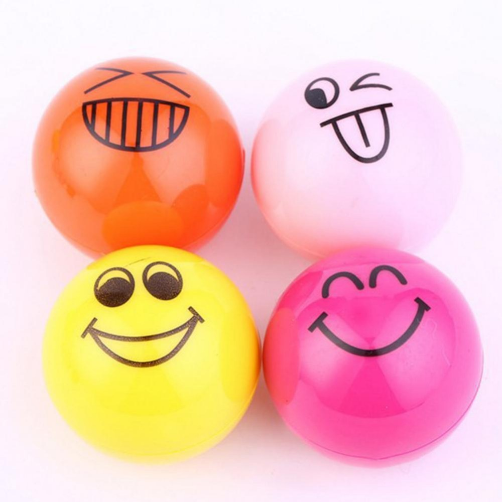 2017 Hot Sale 4 Pcs / set Face Expression Cute Ball Lip Balm Lipstick Beauty Lips Moisturizer Round Fruit Lip Balm Makeup