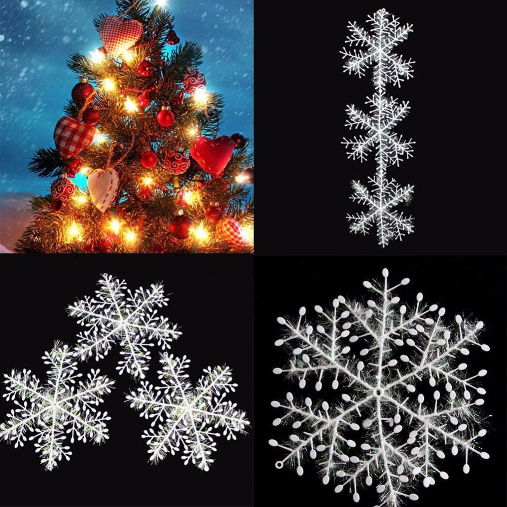30pcskits christmas tree white snowflake charms holiday party festival ornaments decor bulk snow christmas decorations for home in artificial snow