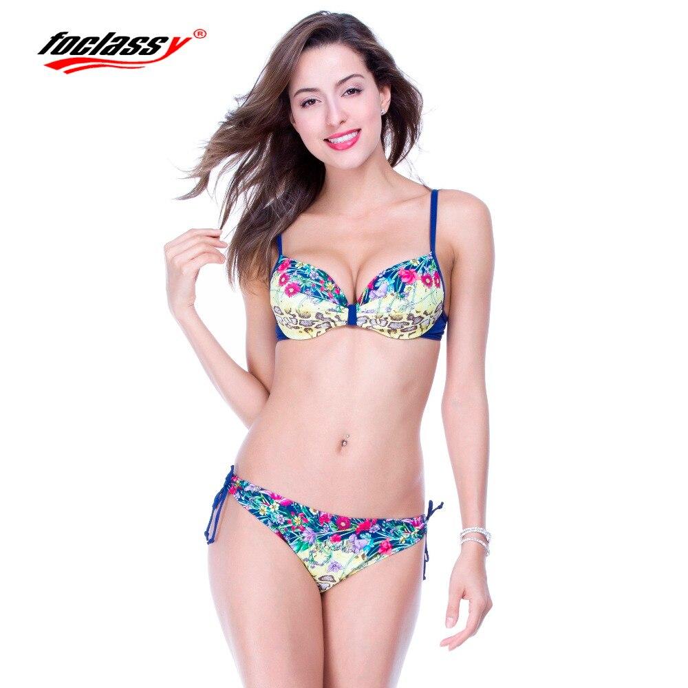 Foclassy Swimwear 2017 Swimsuit Bikini Plus Size Womens swimming suit Bandeau Bather Bathingsuit Beach Wear maillot de bain