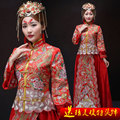 Red phoenix oriental silk  formal sexy Ancient  wedding evening peony chinese traditional dress El vestido tradicional chino
