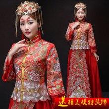 Red phoenix oriental silk formale sexy Alte hochzeit abend pfingstrose traditionellen chinesischen kleid El vestido tradicional chino