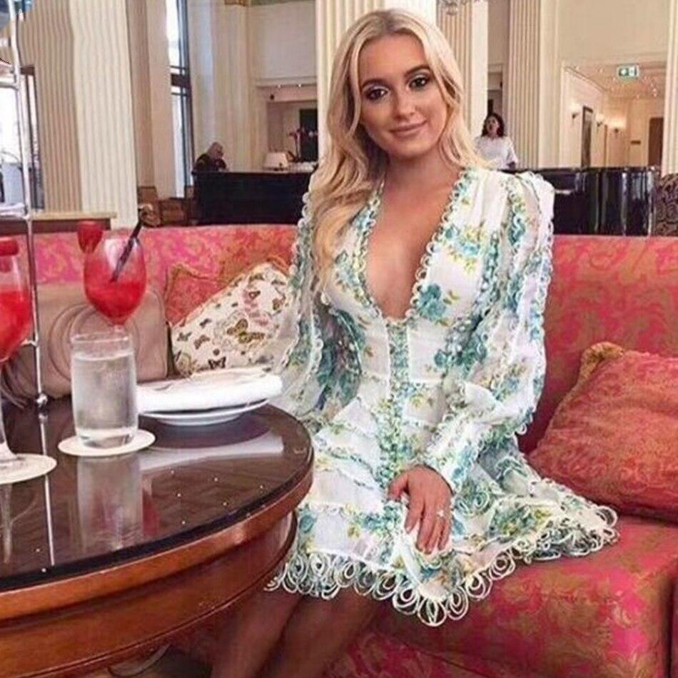 Adyce Celebrity Evening Party Dress Vestidos Verano 2019 New Sexy V Neck Puff Long Sleeve Mini Lace Women Runway Dress Clubwears
