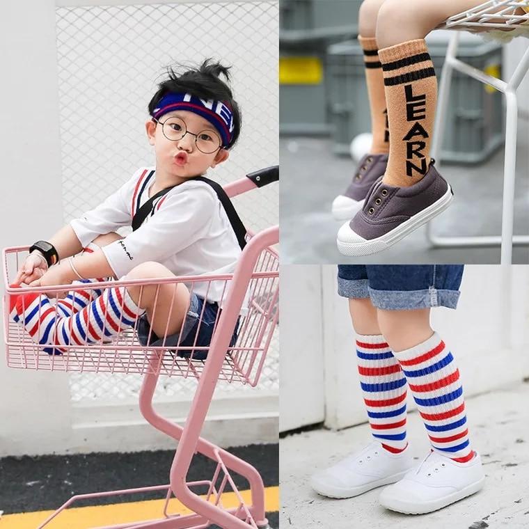 New-autumn-socks-Kids-Long-Socks-Knee-High-toddler-Girls-Boot-Sock-Leg-Warmer-Cute-striped-Black-baby-Cotton-Sock-for-baby-girls-1
