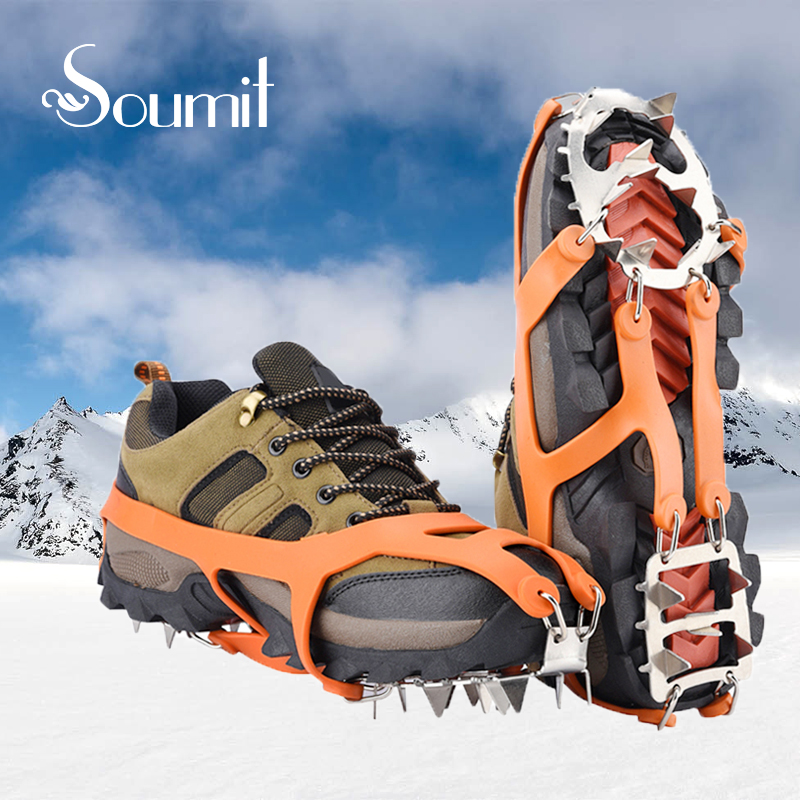 Soumit 18 Teeth Steel Ice Gripper Spike for Shoes Anti Slip Climbing Snow Spikes Crampons Cleats Chain Claws Grips Boots Cover цена