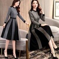 Fashion 2019 Spring Women A Line Dress Long Sleeve Knee Length Elegant O Neck Office Lady Dress Casual Slim Dress