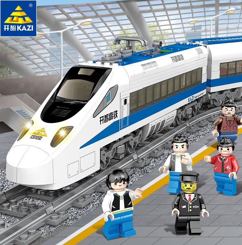 KAZI 98227 GBL Battery Powered Electric Train High speed Rail DIY Building Blocks 474pcs Bricks Gift