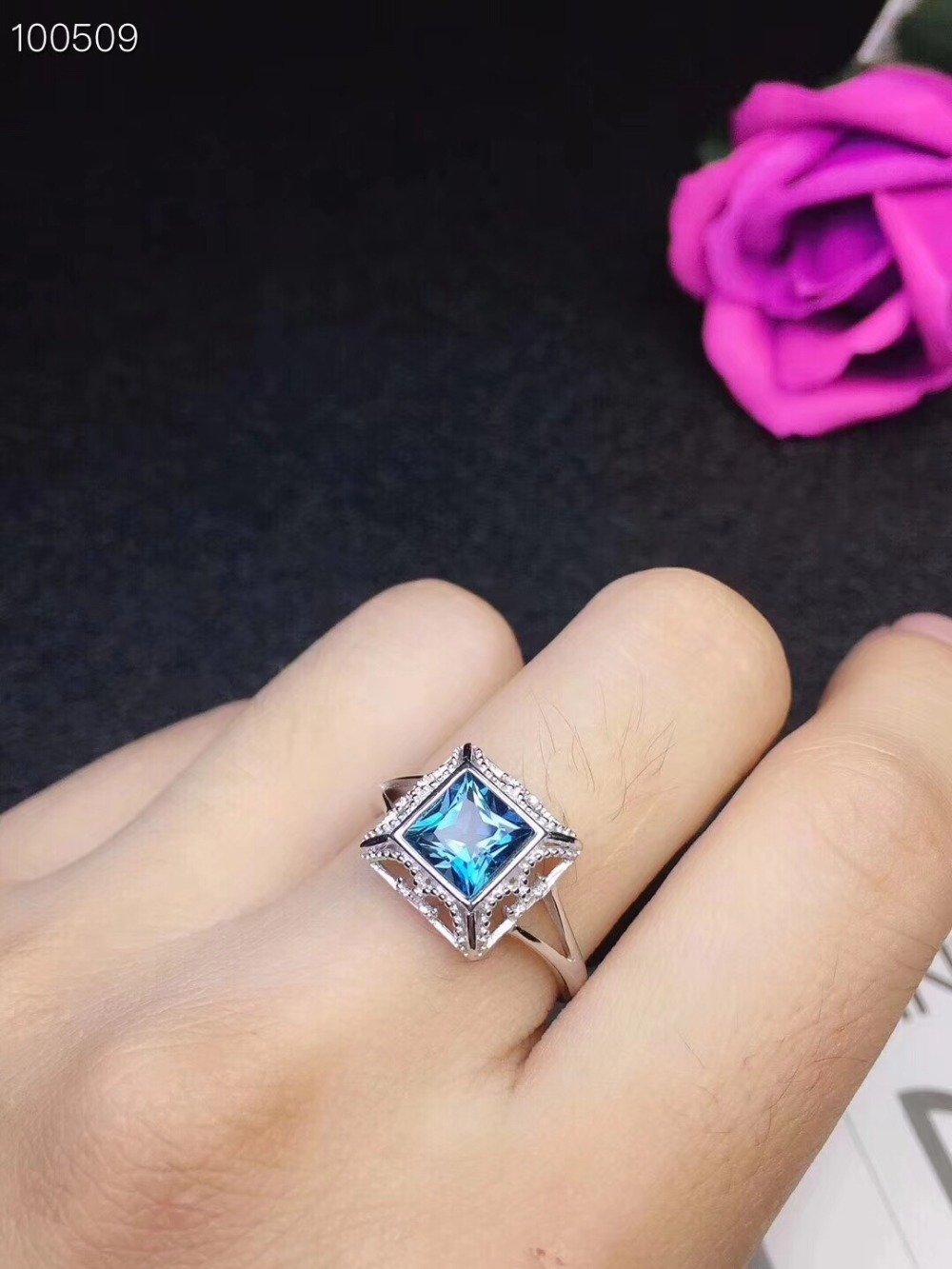 Bague topaze bleue naturelle livraison gratuite topaze bleue naturelle 925 bijoux en argent sterling 6mm