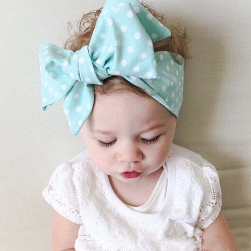 NY 2019 DIY Kid Girls Turban Knude Hovedbånd Big Bow Justerbar Solid Kanin Hovedbeklædning Hovedpakke Hårbånd Tilbehør 1 PC