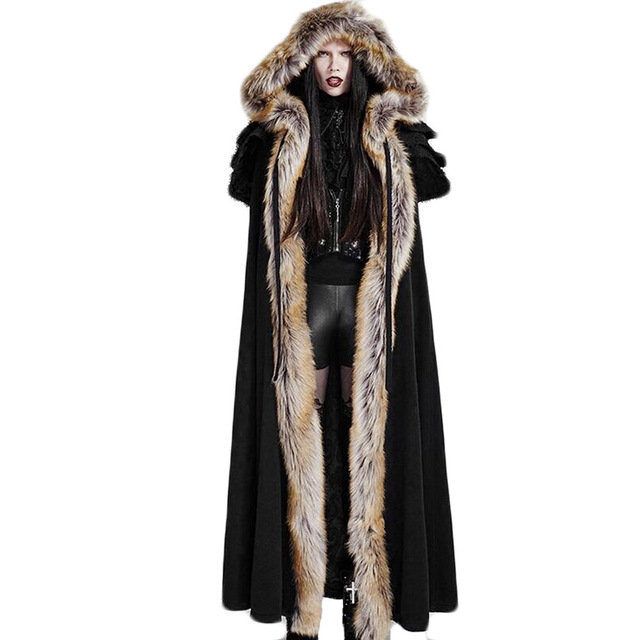 Gothic Winter Faux fur Women's Long Cloak Black Red Thermal Punk Hooded Coat Female Long Sleeve Open Stitch Coats Free Size