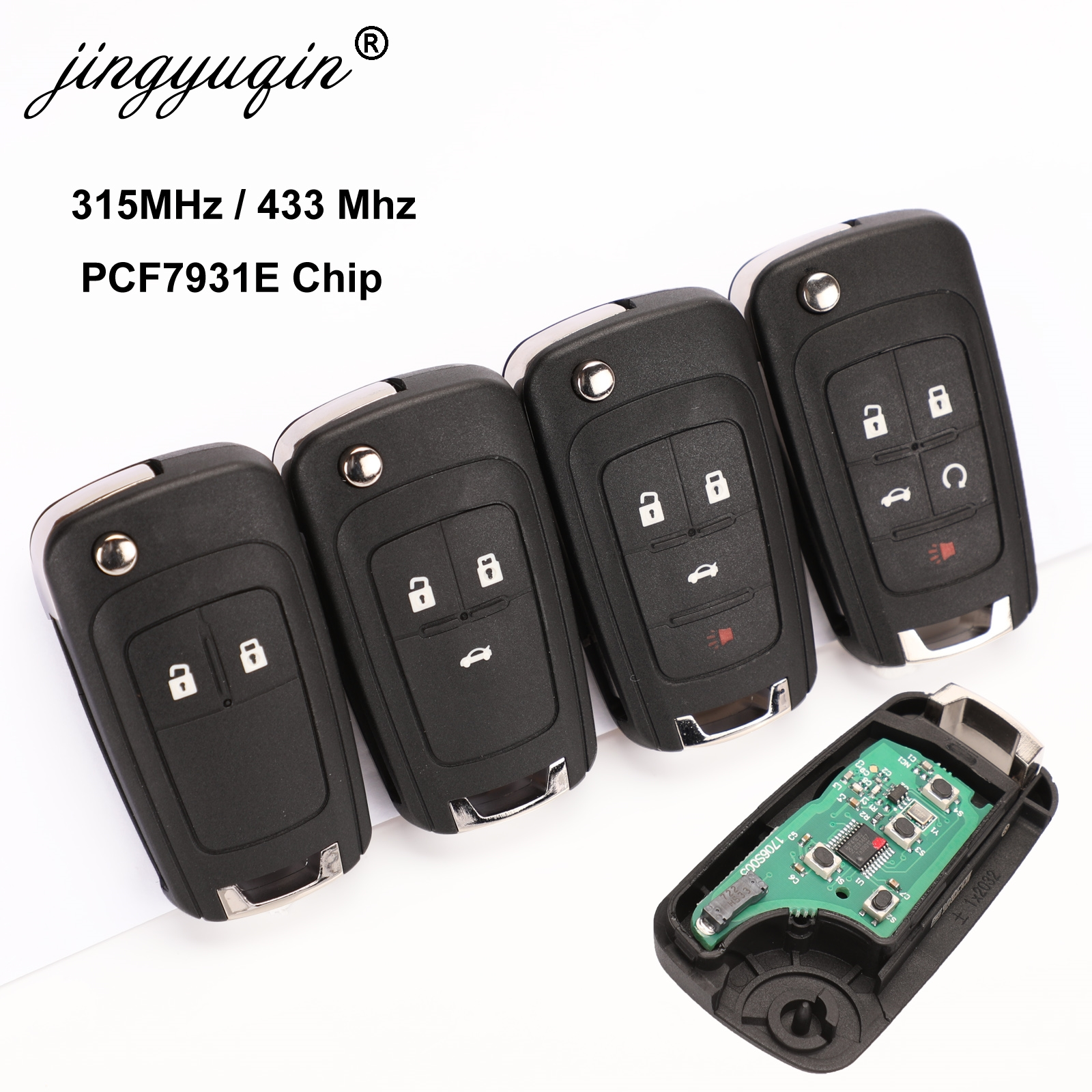 Jingyuqin 10pcs/lot 2/3/4 Buttons Remote Control Fob Flip Folding Key For Chevrolet Lova Sail Aveo Cruze 315/433Mhz PCF7937E