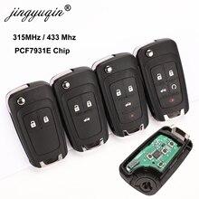 Jingyuqin 10 unids/lote 2/3/4 botones funda de mando a distancia llave plegable para Chevrolet Lova Sail Aveo Cruze 315/433Mhz PCF7937E