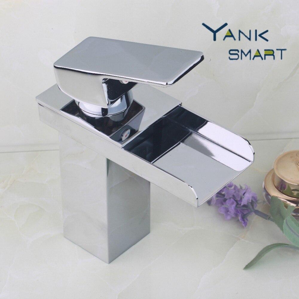 Waterfall bathroom sink - Fa Yanksmart Waterfall Bathroom Basin Sink Brass Mixer Tap Vanity Faucet Chrome Finish Single Handle Wide
