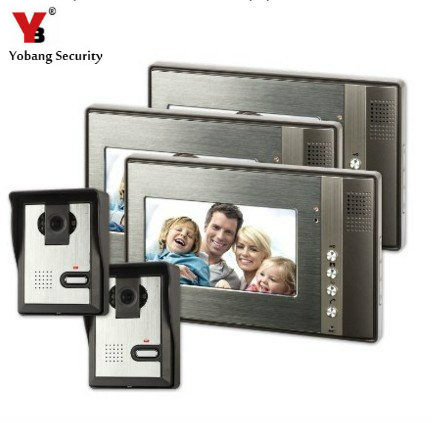 YobangSecurity 7 inch Color Video Door Phone Doorbell Home Security Entry Access Control System 3 Monitor 2 Camera Night Vision new 7 inch color video door phone bell doorbell intercom camera monitor night vision home security access control