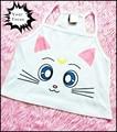 2016 harajuku unif omighty kawaii cute Sailor Moon luna cat print croptop white cotton camis women cropped halter tank top