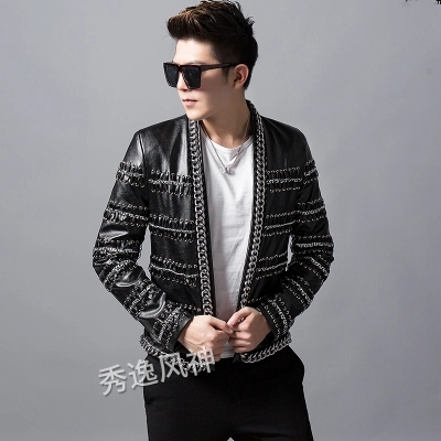 Luxury mens chain decoration event/stage performance short fashion jacket/studio/red carpet jacket/ASIA SIZE