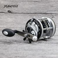 YUMOSHI JCA 12+1BB Aluminum Spool Casting Drum Fishing Reel 12kg Drag Right Handle Steering wheel Moulinet Peche Fishing Reels